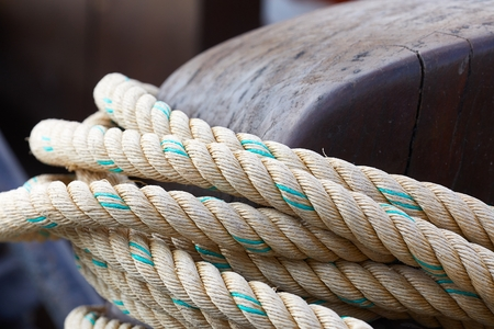 Rope on a sailing boat Stok Fotoğraf