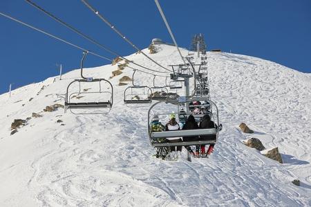 Ski lift at a ski resort Фото со стока