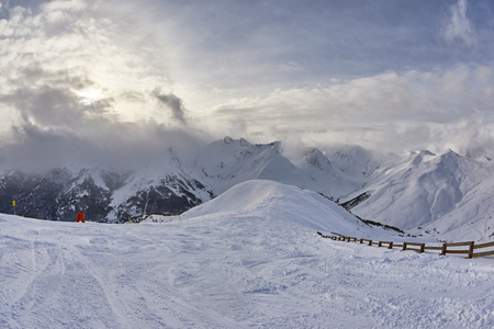 Skiing landscapes in the Alps in winter