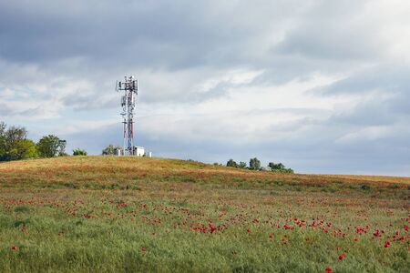 Transmitter towers on a hill
