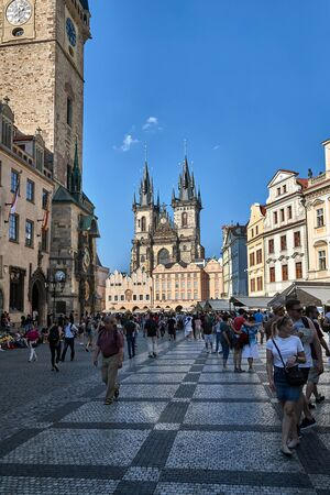 Prague main square view with Tyn church