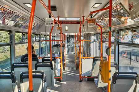 Public bus interior in Brno Редакционное