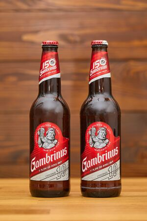 Bottles of Gambrinus Czech beer