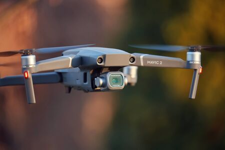 Drony flying close up, camera gimbal