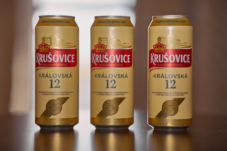 Cans of Krusovice Czech beer