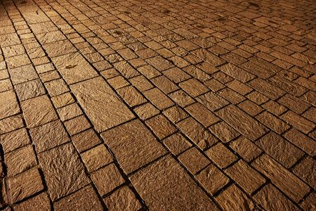 Stone Pavement Pattern At Night