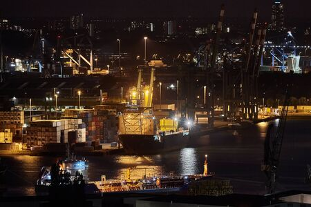 Container Port in Rotterdam at night
