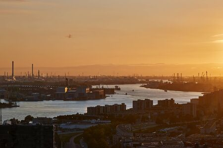 Rotterdam Port Dusk Panorma from Euromast