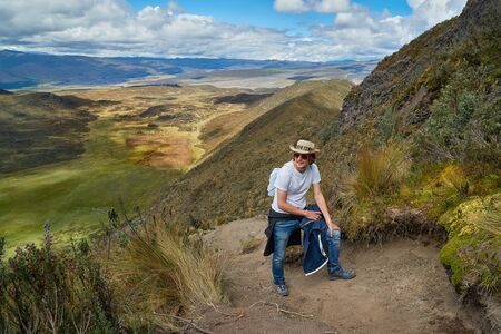 Mountain hiking trail in the Andes