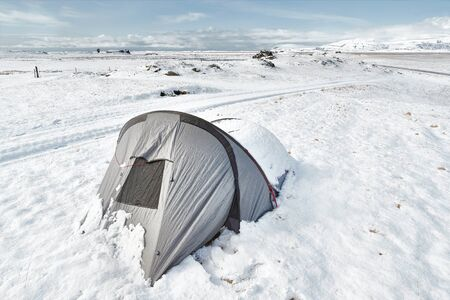 Tent in snow in ICeland