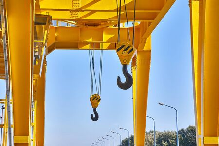 Hooks on a crane steel industrial structure