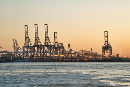Container Dock in Rotterdam Stock Photo
