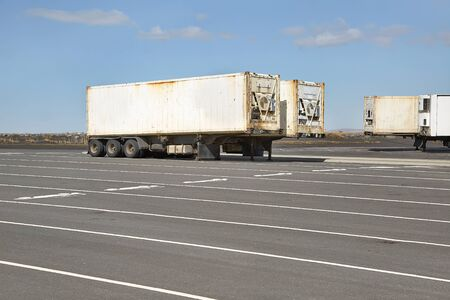 Container carrier trailers parked