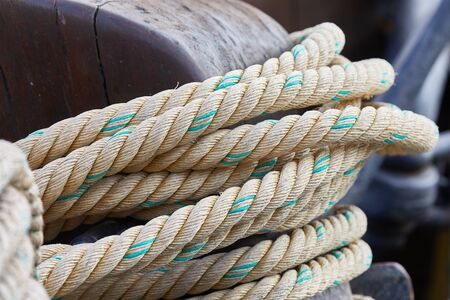 Old rope piled up on a boat