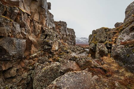 Thingvellir landscape in Iceland with rocky terrain, rift valley
