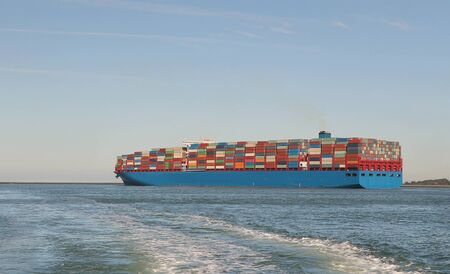 Huge Container Ship in the Port of Rotterdam