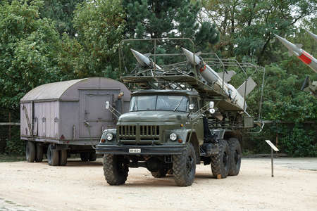 Military truck with air defense rockets Editorial