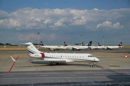 Unused airplanes and private jet OE-LEM sometimes used by PM Viktor Orban