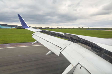 Landing plane wing flaps and spoilers extended