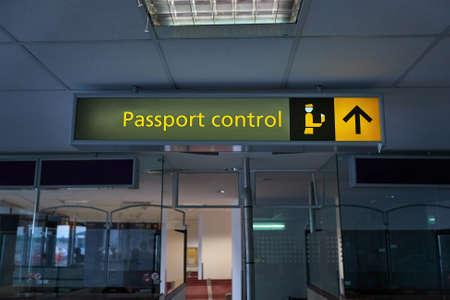 Border passport control signs