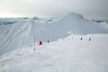 Skiing slopes from the top