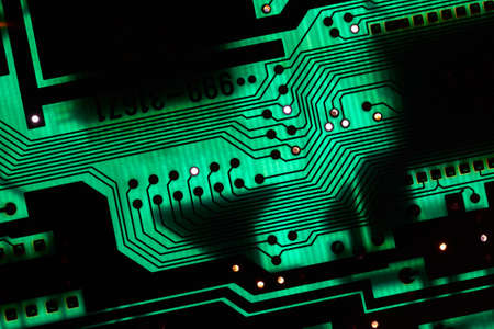 Circuit board electronics technology closeup