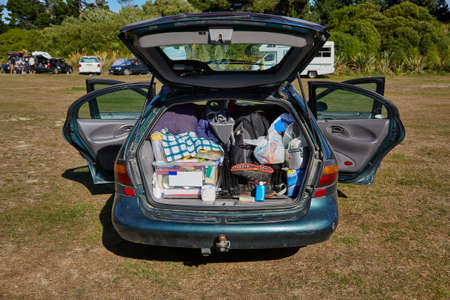 Car trunk with stuff for camping