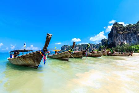 Long tail boats at Railay Beach, Krabi , Thailand