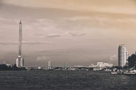viii: BW scene of Rama VIII Bridge, Bangkok, Thailand