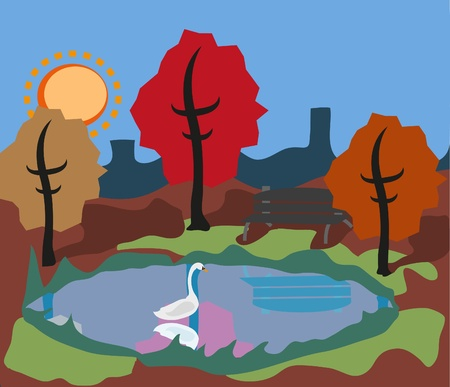 swan lake: Swan in the Park Illustration