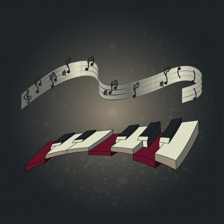 Piano and notes Vector