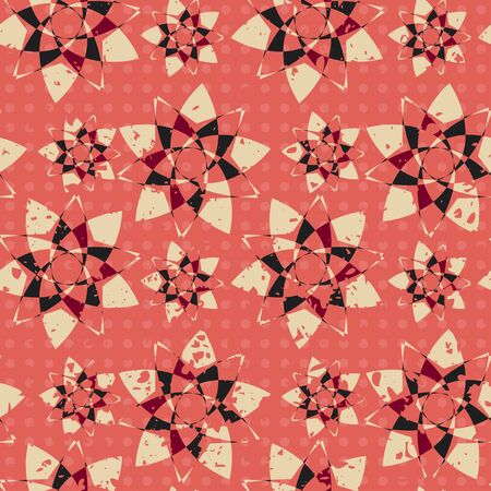 revivalism: abstract grunge seamless, red flowers Illustration