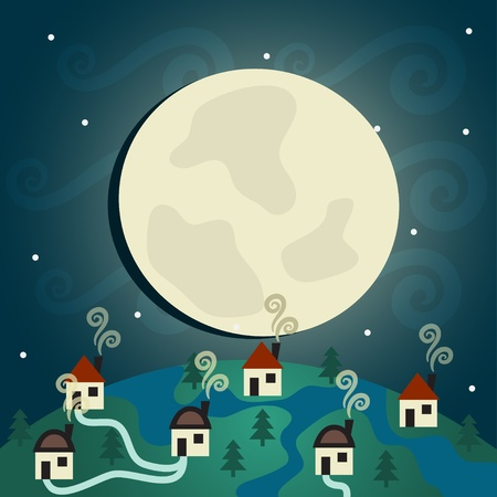 abstract background, Night Village  Vector