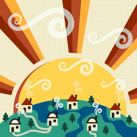Sunny village  Stock Vector - 15046316