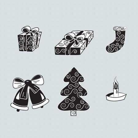 Christmas gifts, silhouette Vector