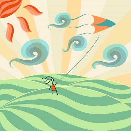 凧: 凧の女の子