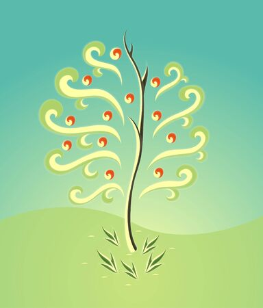 abstract tree silhouette Vector