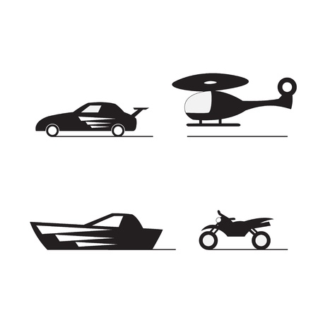 car, boat, motorcycle, helicopter silhouette Vector