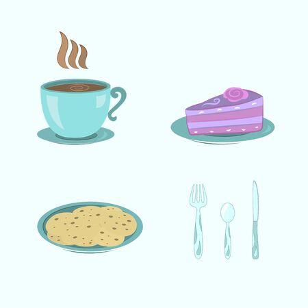 cup, cake, cookies Vector
