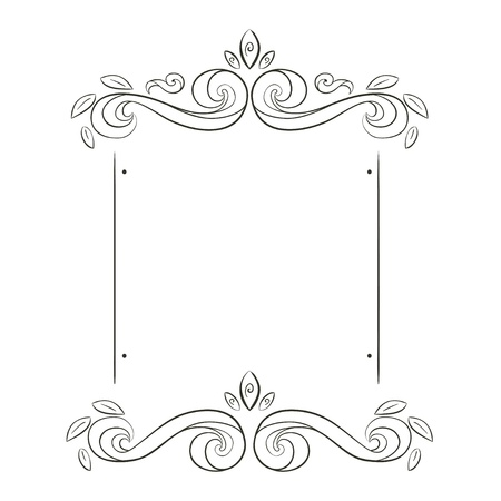 accent abstract: grunge flowers frame silhouette Illustration