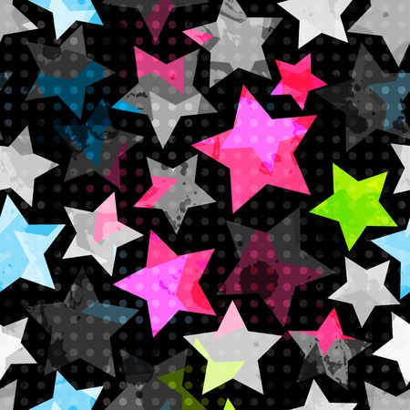 abstract grunge stars seamless Vector