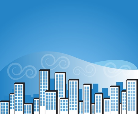 blue city background Stock Vector - 16664952
