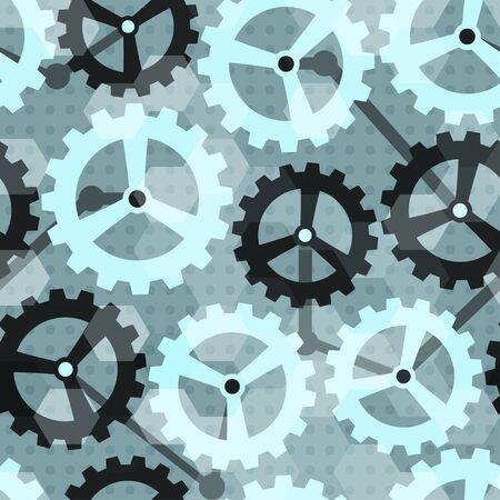 gearings: blue cogwheel seamless pattern Illustration