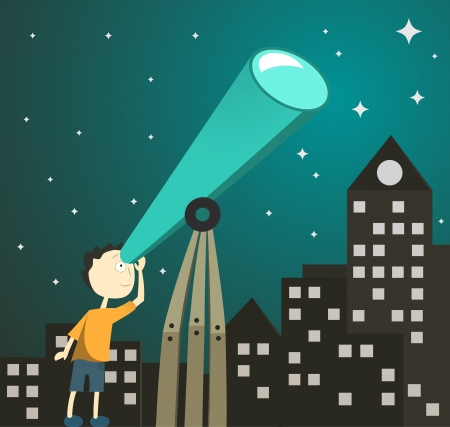 boy with telescope Vector