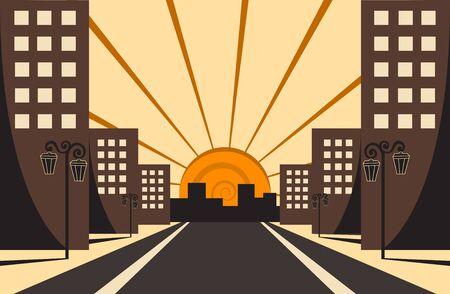 City Sunrise Vector