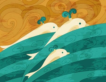 horizon over water: Dolphins  art