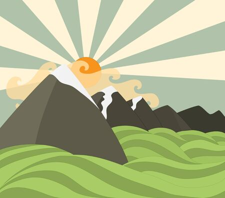 over the hill: mountains background