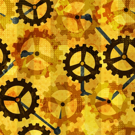 work in progress: steampunk cogwheel grunge seamless Illustration