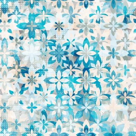 blue snow flowers seamless pattern Vector