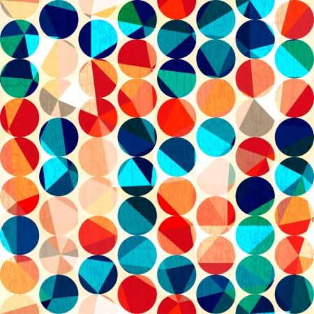 colored circles seamless pattern with grunge and glass effect Vector